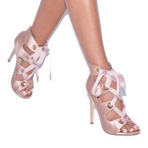 NIB Blush Satin Heeled Sandal